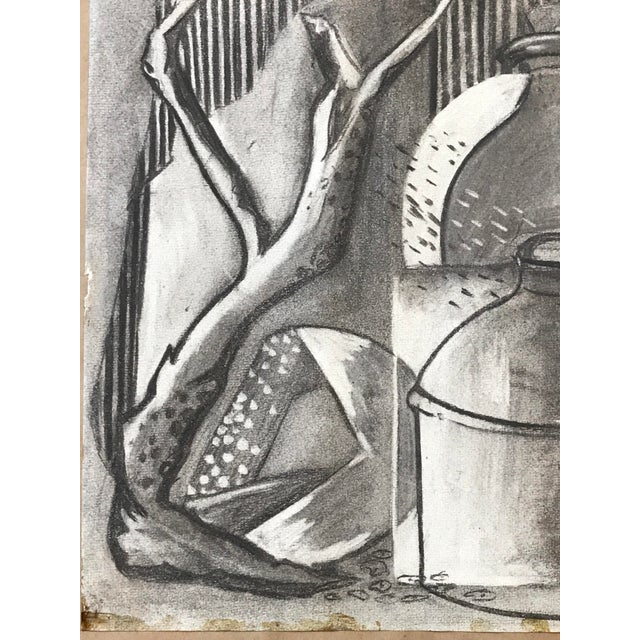 Abstract 1930s Charcoal Still Life For Sale - Image 3 of 6