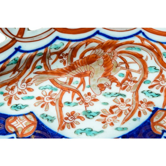 Asian Reticulated Antique Imari Charger For Sale - Image 3 of 8