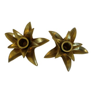 Brass Candle Holders, a Pair For Sale