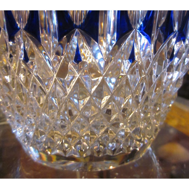 Modern Vintage Waterford Clarendon Cobalt Blue Cut to Clear Cased Crystal Ice Bucket For Sale - Image 3 of 11