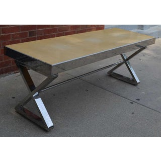 Milo Baughman Style Chrome Bench With X Form Base Preview