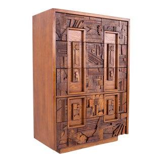 Mid Century Paul Evans Style Lane Pueblo Brutalist Walnut 5 Drawer Highboy Dresser For Sale