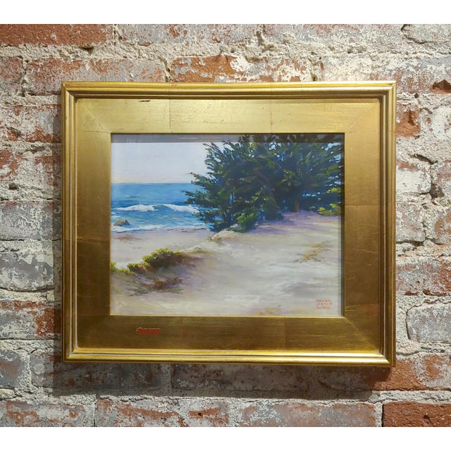 Black Donna Jensen Burke -Sandy Overlook at a Mendocino Beach-Painting For Sale - Image 8 of 8