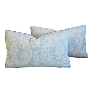 "Blue & White Quadrille Roma Linen & Velvet Feather/Down Pillows 28"" X 17"" - Pair For Sale"