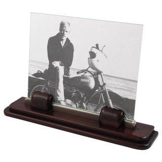 Art Deco Machine Age Macassar and Chrome Picture Photo Frame For Sale