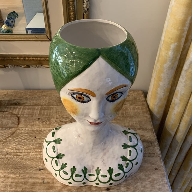 Italian 1960s Vintage Italian Ceramic Head Vase For Sale - Image 3 of 10