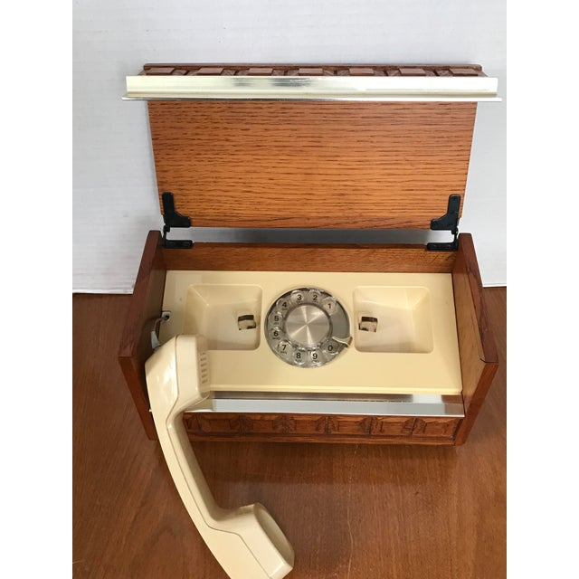 Vintage Western Electric Oak and Brass Box Rotary Telephone For Sale - Image 4 of 6