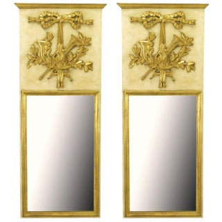 Pair Italian Empire Ivory and Parcel Gilt Trumeaux Mirrors For Sale