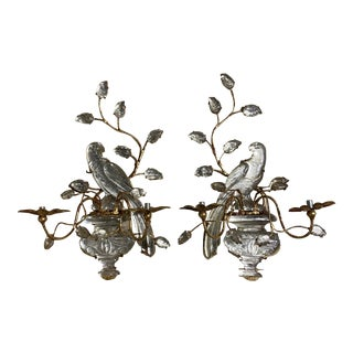 French Glass Bird Sconces - a Pair For Sale