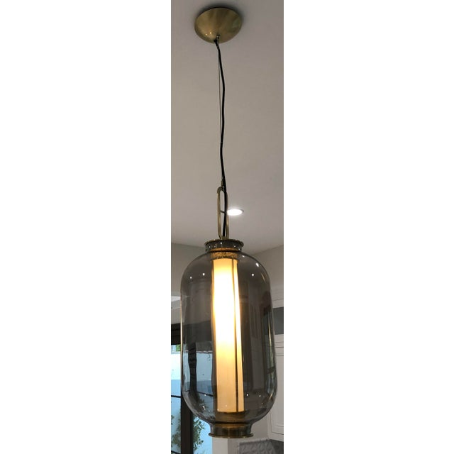 Contemporary Smoked Glass and Brass Pendant For Sale - Image 3 of 5
