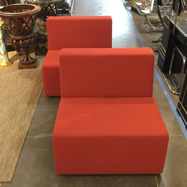 1990s Modern Steelcase Orange Fabric Armless Side Chairs - a Pair - Image 3 of 4