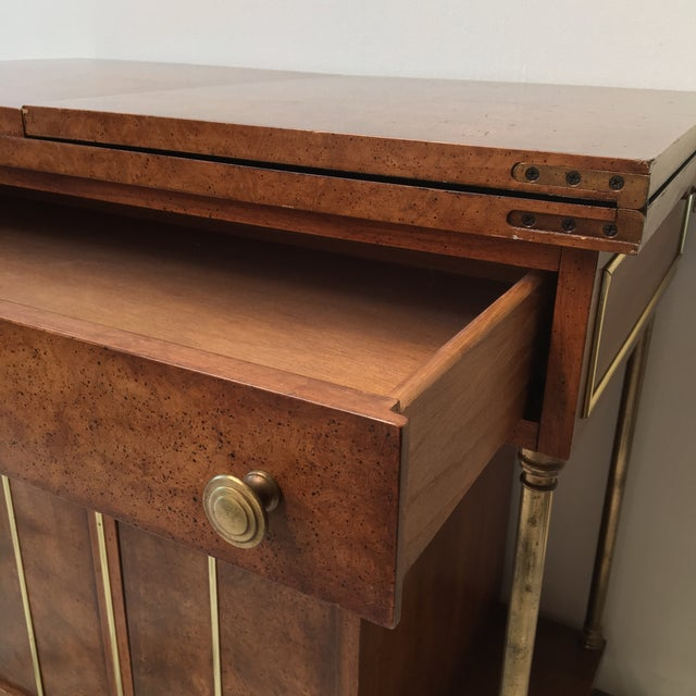 Burl Wood and Brass Bar Cart by Weiman - Image 6 of 9