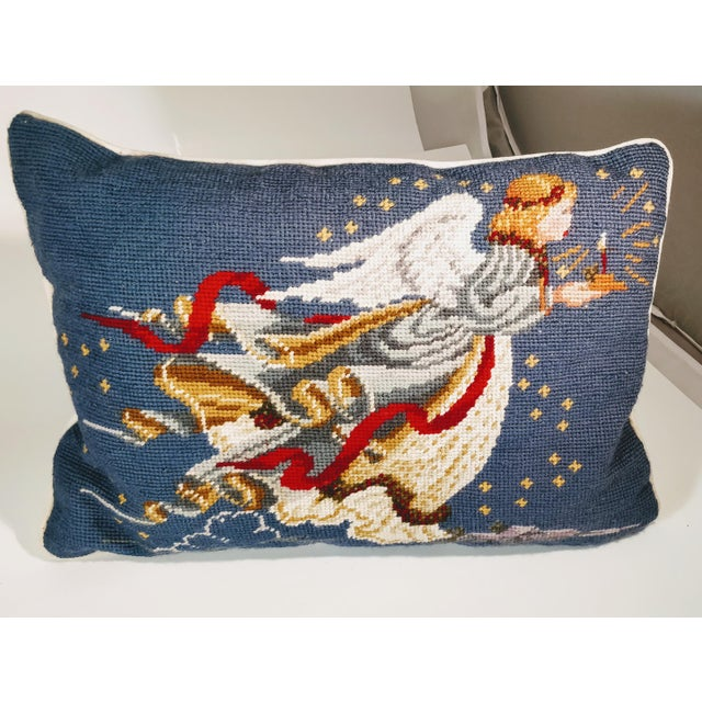 Late 20th Century Needlepoint Christmas Angel Pillow For Sale - Image 4 of 4
