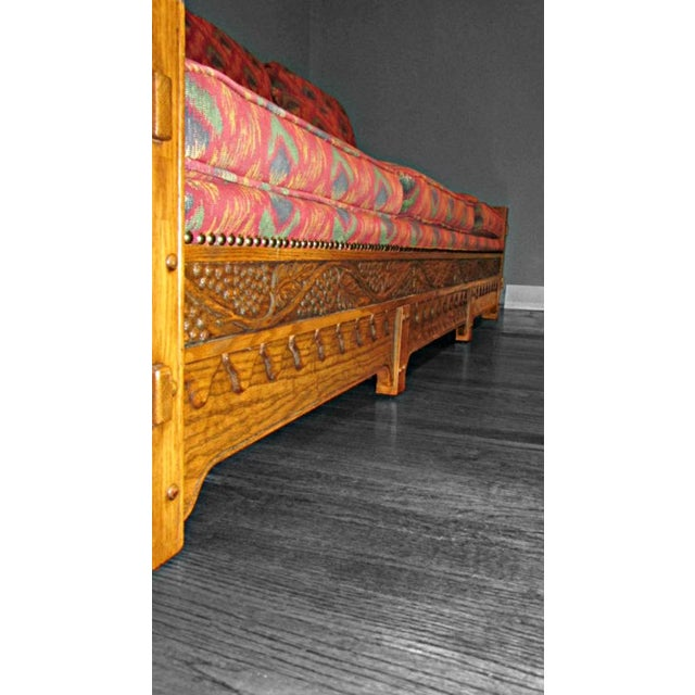 Romweber Viking Oak Carved Wood Low-Arm Sofa - Image 6 of 11