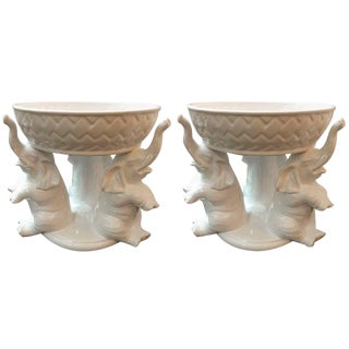 Italian White Ceramic Pottery Centrepieces Bowls - a Pair For Sale