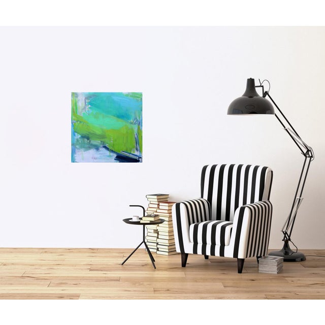 """Green """"After the Downpour"""" by Trixie Pitts Abstract Expressionist Oil Painting For Sale - Image 8 of 10"""