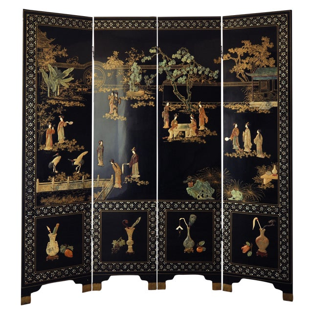 Vintage Chinese 4 Panel Lacquered Hardstone Screen For Sale