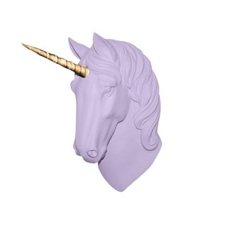 "Wall Charmers ""The Luna"" Faux Lavender + Gold Horn Magical Unicorn Head Wall Hanging"