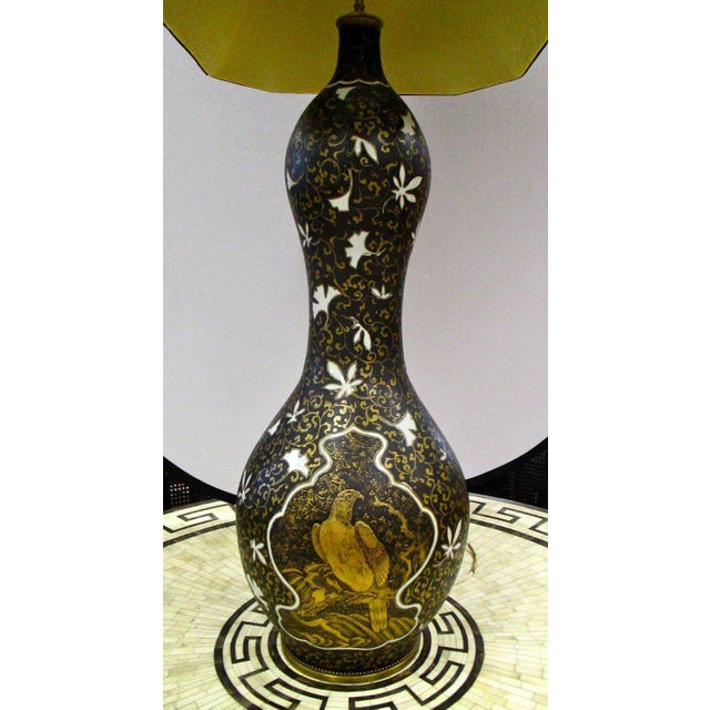 Mid-Century Modern Midcentury Japanese Porcelain Hand-Painted Gourd Lamp For Sale - Image 3 of 6