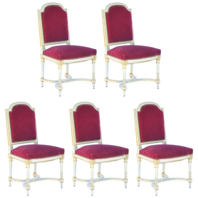 Set of 5 Chic Crimson Velvet Chairs in the Style of Maison Jansen For Sale - Image 12 of 12