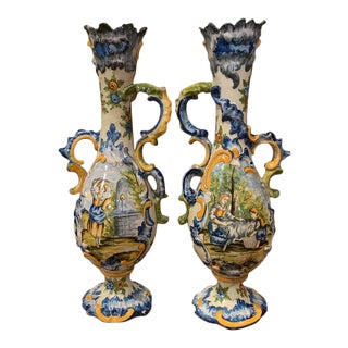 19th Century Italian Carved Painted Ceramic Vases - a Pair For Sale