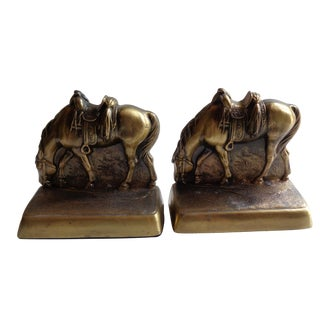 Mid-Century Western Horse Brass Bookends - a Pair For Sale
