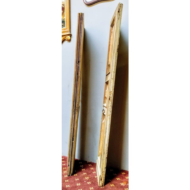 Late 19th Century French Oak Haussmann-Paris Era Panel Doors With Cream Painted Backs - a Pair #1 For Sale - Image 5 of 6