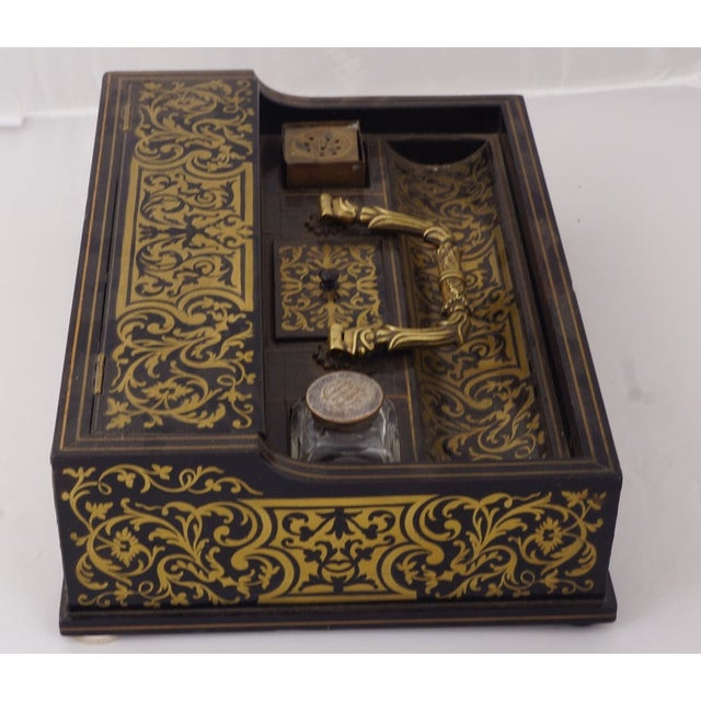Late 19th Century Circa 1880 Italian Napoleon III Inlaid Brass and Lacquered Mahogany Inkwell For Sale - Image 5 of 7