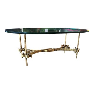 1950s Brutalist Gothic Gilt-Iron & Glass Coffee Table Made in Spain For Sale