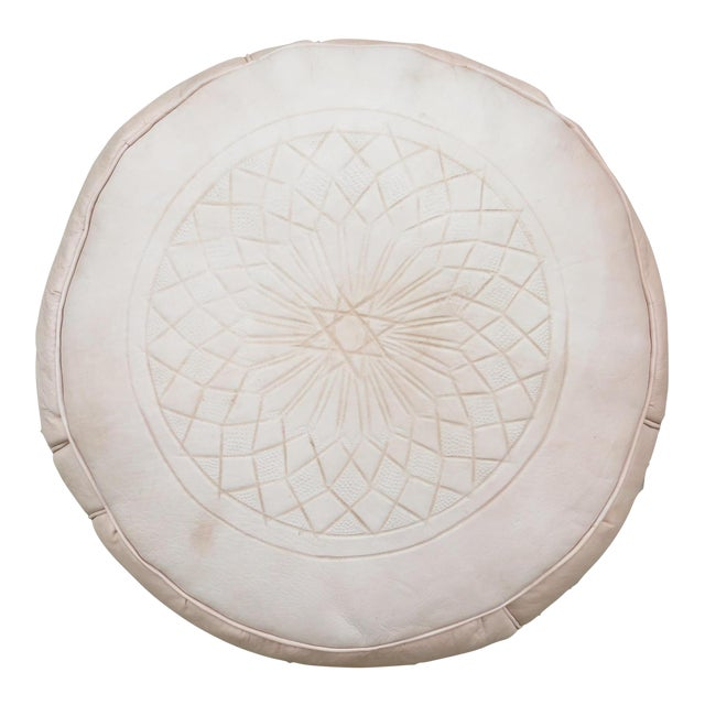 Moroccan Nude Leather Pouf - Image 1 of 5