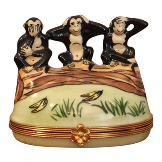 Three Wise Monkeys Limoges Box by Artoria For Sale