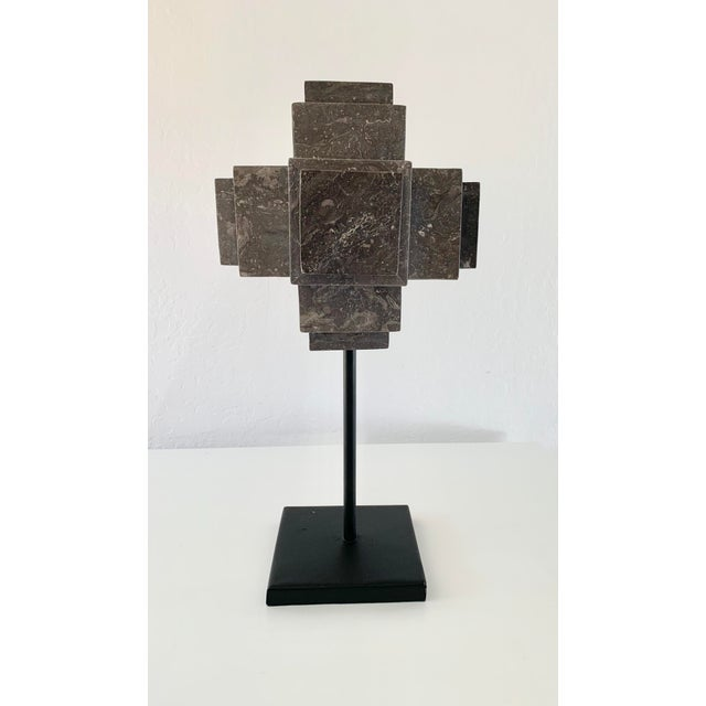 Modern Sculpture Gray Marble Cube on Stand For Sale - Image 10 of 10