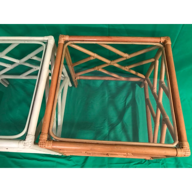 20th Century Chinese Chippendale Rattan Side Tables With Clear Glass Top - a Pair For Sale - Image 6 of 8