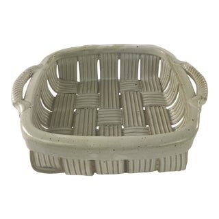 1980s Vintage Parmentier Stoneware Pottery Basket For Sale