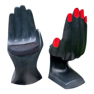 Monumental Vintage Pop Art Plastic Hand Chairs - a Pair For Sale
