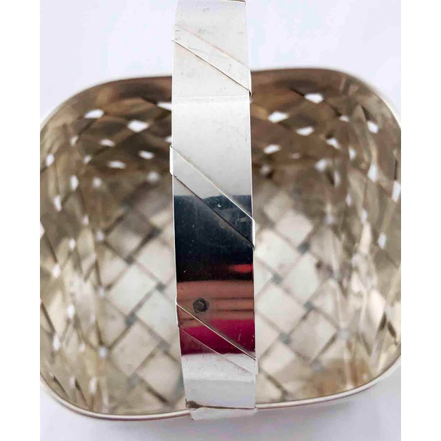 1980s Vintage Sterling Silver Woven Basket With Handle For Sale - Image 5 of 9