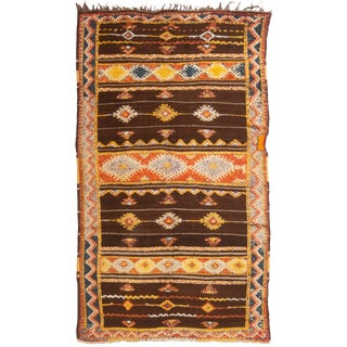 Contemporary Brown Geometric Wool Rug - 4′5″ × 7′9″ For Sale