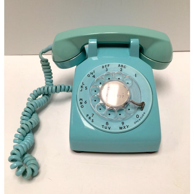 Vintage Turquoise Blue Dial Desk Telephone - Image 2 of 6