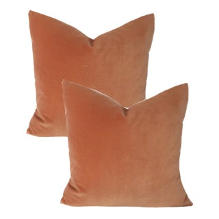 Coral Velvet Pillows - A Pair