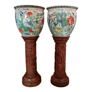 Pair of Oriental Gump Fish Bowls on French Walnut Jardinières For Sale