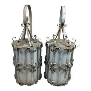 Vintage Large Scale Ornate Theater Sconces - a Pair For Sale
