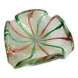 Image of 1960s Vintage Barovier Toso Italian Murano Art Glass Gold Fleck Bowl With White Latticino, Pink and Green Twisted Ribbons For Sale