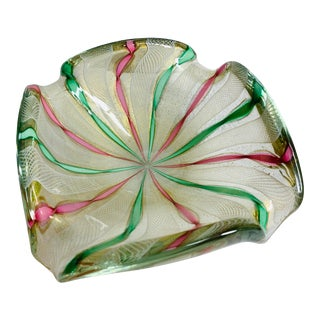 1960s Vintage Barovier Toso Italian Murano Art Glass Gold Fleck Bowl With White Latticino, Pink and Green Twisted Ribbons For Sale