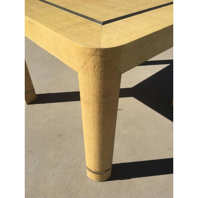 1970s Grasscloth and Brushed Stainless Steel Game Table by The Rudolph Collection For Sale - Image 5 of 8