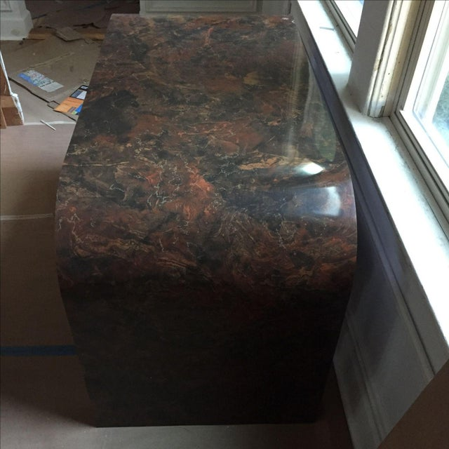 Mid-Century Faux Marble Console Table - Image 9 of 9