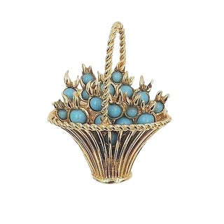 1960s Boucher Faux-Turquoise Rhinestone Basket Pin For Sale