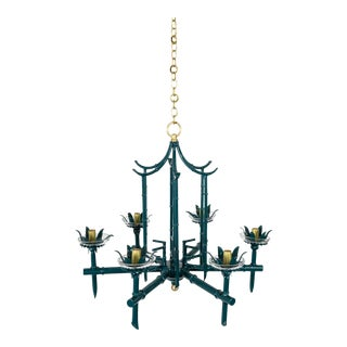 Palm Beach Pagoda Faux Bamboo Green Chandelier For Sale