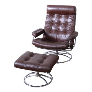 Vintage Ekornes Stressless Chrome and Leather Lounge Chair and Ottoman For Sale