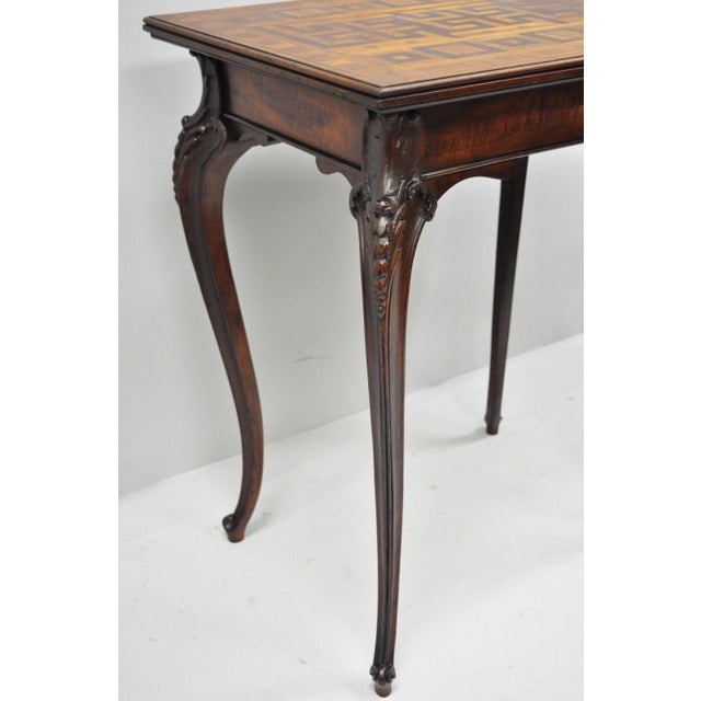 Early 20th Century Antique Dutch Marquetry Inlaid French Louis XV Style Carved Walnut Side Table For Sale - Image 5 of 13