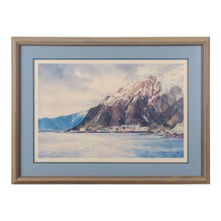 Vintage Juneau Alaska 1976 Watercolor Painting by Nancy Taylor Stonington